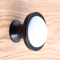 schwarze schranktürgriffe großhandel-moderne einfache weiße schwarze Schublade Schuhschrank Knöpfe Antik schwarz weiß Keramik TV Schrank Kommode Schrank Türgriff Knopf