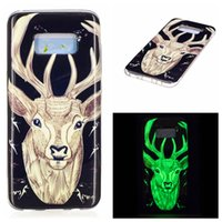 Wholesale Cartoon Case Wholesale - Cartoon Case For Samsung S8 Huawei P10 P8 Night Light Noctilucent Soft TPU Cover Animal Flower Pattern Cartoon Painting Shell