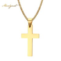 Venta al por mayor-Meaeguet Cruz NecklacesPendants Para Hombres De Acero Inoxidable De Oro 18K Chapado Pendientes Masculinos Collares Prayer Jewelry