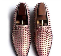 Wholesale mens studded shoes - Mens Shoes Rose Gold Loafers Spike Studded Slip On Leather Flat multi color fashion men bota shoe white
