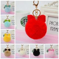 Wholesale Earrings Bowknot - Rabbit Fur Ball Keychain Ball PU Bowknot Key Chains Gold Metal Ball Pom Poms Plush Keychain Car Keyring Bag Earrings Bags Accessories LD1