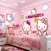 Wholesale Wallpapers For Baby Girls Room - Wholesale-Wholesale HELLO Love Pink KITTY Cat 3d Cartoon Photo Murals for Baby Kids Girls Room 3d Wall Murals Vinyl Fresco Home 3d Murasl