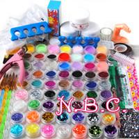 Wholesale Acrylic Powder Nail Tips - Wholesale- 2015 New 78 Pieces Pro Nail Art Tips Kit DIY Acrylic Nail Glitter Powder Nail Art Tool kit 140 set