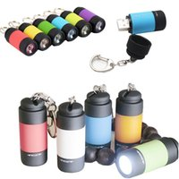 Wholesale Small Led Work Lights - usb Rechargeable Mini LED Flashlights Mini LED Torches Pocket Charger Lamp Keychain Lights small size free shipping
