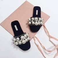 Wholesale Red Top Hotel - 2017 New Arrival Women Beading fashion slippers with Top quality Beach sandals Genuine leather Pearl Scuffs sweet loafers Brand Flip Flops