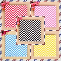 Wholesale Cheap Paper Napkins Wholesale - Wholesale- Cheap 20pcs pack Wave Chevron Paper Napkin 5 colors Popular Dinner Party Decoration Wedding Supplies Baby shower Decoration