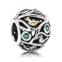 Wholesale Birds Foods - Authentic 925 Sterling Silver Bead Charm Openwork Gold Bird With Crystal Beads Fit Women Pandora Bracelet Bangle DIY Jewelry HKA3495