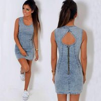 Wholesale Denim Women Casual Fashion Wear - Sexy Denim Dress for Women Lady Girls Fashion Mini O Neck MINI Dress with Zipper for Night Club Wears DDA025
