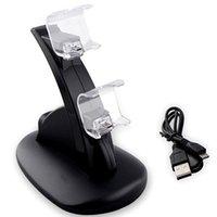 controlador de carga ps4 al por mayor-Soporte de doble cargador Cargador 2 USB Manija Estación de acoplamiento de carga rápida Soporte de cargador para PS4 Controlador