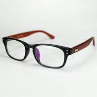 Wholesale Cheap Hinges - 2017 New Classic Square Frame Eyeglasses With Clear Lenses Natural Wood Temples With Rivet Metal Hinge Cheap Wholesale Glasses