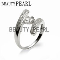 Wholesale Setting Semi Ring Mount - 3 Pieces Pearl Ring Settings Cubic Zirconia Adorned 925 Sterling Silver Semi Mount DIY Jewelry Making