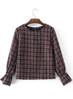 Wholesale Women S Fragrances - Fragrance Tweed Pearl Round Neck Shirt Autumn Casual Pullover O-Neck Women Outerwear 8