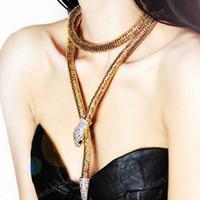 nj altın toptan satış-Toptan-2016 Moda Collier Femme Takı Tam Taklidi Avusturya Aksesuarları altın gümüş Kristal Yılan longPendant Kolye NJ-140