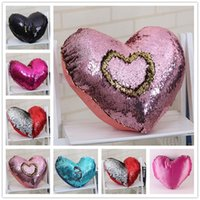 Wholesale Heart Shaped Pillow Cases Mermaid Sequins Pillow Case cover Home Decorative Pillowcase Sofa Cushion cover Sequin Glitter Cushion HPC02