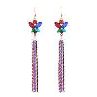 Wholesale Ear Hook Flower - New Arrival Bohemian Chandelier Earrings Long Tassel Drop Dangle Earring Jewelry Ear Hooks Retro Vintage Colored Metal Chain Tassel Jewelry