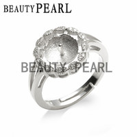 Wholesale diy sterling silver ring mounts for sale - Group buy Pearl Ring Mount Round Face Ring Base Jewelry Findings Sterling Silver DIY Making Pieces