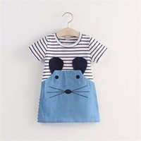 Wholesale Denim Girls Striped Dress - Striped Patchwork Character Girl Dresses Short Sleeve Cute Mouse Children Clothing Kids Girls Dress Denim Kids Clothes