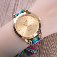 Vente en gros - 2017 Top Luxury Brand BGG Bracelet Bracelet Bracelet À La Main Tissé à la main Ceinture Créative Belt Ladies Dress Gold Quartz Wristwatch