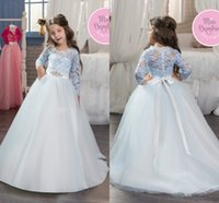 Wholesale Toddlers Wedding Shirts - 2017 New Baby Princess Flower Girl Dresses Lace Wedding Prom Ball Gowns Birthday Communion Toddler Kids TuTu Dress With Crystal Sash