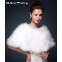 Wholesale White Winter Jackets Bride - Luxurious Ostrich Feather Bridal Shawl Fur Wraps Marriage Shrug Coat Bride Winter Wedding Party Boleros Jacket Cloak