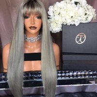 Wholesale Long Chinese Bang Wigs - New Silky Straight 1BTGrey Ombre Full Lace Human Hair Wigs With Bangs Glueless Lace Front Wigs With Dark Roots Full Lace Wigs Ombre
