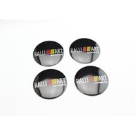 Wholesale Car Logos Mitsubishi - 4pcs=1set 56.5mm Mitsubishi RALLI ART logo Decal wheel center hub caps emblem stickers Car styling Free shipping