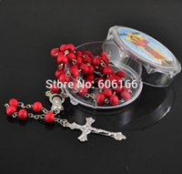 Wholesale Cross Jewelry Color - Mix Color rose scented perfume wood Rosary Beads INRI JESUS Cross Pendant Necklace Catholic Fashion Religious jewelry