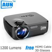 Wholesale Tv Tuners Atsc - Free Shipping AUN Projector AM01 Series ( Optional Classic   DVB-T  ATSC   Android ), LED Projector LED TV Tuner Free HDMI Cable 3D Glasses