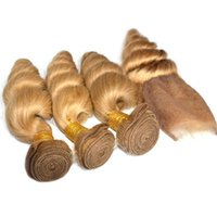 Wholesale honey brown hair weave online - 8A Honey Blonde Brazilian Virgin Hair With Closure Bundles Loose Wave With Lace Closures Weave Light Brown Bundles With Closure