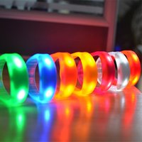 Wholesale Sound Music Activated - Music Activated Sound Control Led Flashing Bracelet Light Up Bangle Wristband Club Christmas Party Decor Bar Disco Cheer Glow Night Lights