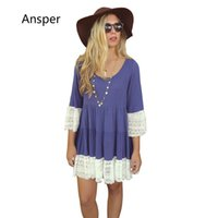 Wholesale Summer Maternity Blouses - 2017 spring Western Loose Women Lace Tunic Blouse Fashion Lady Maternity Cotton Tops Flare Sleeve Pull Over