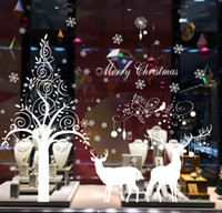 Wholesale Decorative 3d Wall Art Stickers - 2017 new Christmas tree white elk stickers new year window background layout decorative stickers  DHL free shipping
