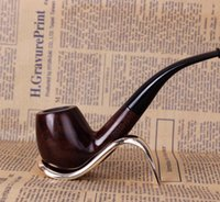 New Wood Carving Curved Pipe Dual Ebony Ebony Portable Men's Hammer Fighting DHL