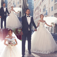 online shopping Ball Gown Wedding Dress - 2018 Fashion Ball Gown Bridal Wedding Dresses Glamorous V-neck Applique Lace up Back Bridal Wedding Gowns