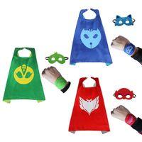 Wholesale Ponchos Capes Children - 3 Styles PJ Masks Cloak Cape set with bracelet mask Catboy Owlette Gekko Cosplay Costumes Poncho clothes for Children 100171
