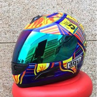 Wholesale Moto Motorcycle Helmets - Wholesale- Free shipping MALUSHUN Cool Men Blue Motorcycle Helmet Rossi Five Continents NUmber 46 Pattern Motocicleta Cascos Para Moto