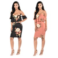 Wholesale Strapless Floral Mini Dress - Women Sexy Flora Print Strapless Casual Dresses Summer Dress Clothes Gown Plus Size Free Shipping Pink Black Color M283-0