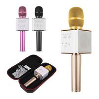 hoparlör akıllı telefon toptan satış-Q7 El Mikrofonu Hoparlör Ile Bluetooth Kablosuz Sihirli KTV Mic El Smartphone Için Taşınabilir Hoparlör Taşınabilir Karaoke ...