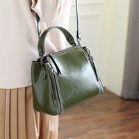 Wholesale Kraft Bag Leather - Genuine leather handbag wholesale, oil wax kraft fashion simple hand bag