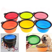 Wholesale Pet Expandable Bowl - Silicone Folding dog bowl Expandable Cup Dish for Pet feeder Food Water Feeding Portable Travel Bowl portable bowl with Buckle WX-G06