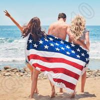 Wholesale Patterned Bath Mats - US Flag Pattern Round Beach Towel with Tassel Fringe 160cm Wall Hanging Beach Towel Throw Yoga Mat CCA5608 50pcs