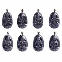 Wholesale Carved Kwan Yin Pendants - Natural Black Obsidian Carved Chinese Eight Patron Saint Buddha Kwan-Yin Amulet Lucky Pendants + Beads Necklace Jewelry
