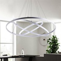 Wholesale Acrylic Led Ceiling Light - Modern Circular Ring Pendant Lights 3 2 1 Circle Rings Acrylic Aluminum body LED Lighting Ceiling Lamp Fixtures For Living Room Dining Room