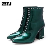 Wholesale Sexy Bootie High Heel Boots - ZZYJ women's Studded boots sexy thick heel women's motorcycle boots patent leather Knight boots ladies' shoes bootie Rivet C8008
