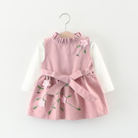vestido bordado niños al por mayor-Nuevo diseño coreano baby girls dress niños otoño primavera 3D bordado flor de manga larga dress 2 unids / set de calidad superior