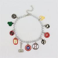 Wholesale Silver Pendant Bracelets - 2017 Hot Fashion 925 Silver Plated Cartoon character The Avengers Charm pendants Bracelets for MOM SISTER MIMI NANA jewelry