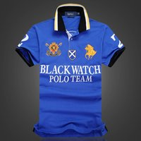 Wholesale Discount Men Watches - discount Polo Shirt 100% Cotton Short Sleeve men Polos Sport S M L XL 2XL BLACK WATCH POLO TEAM Dropship