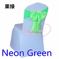 Wholesale Neon Bow Tie - Neon green colour chair sash Butterfly style satin sash with lycra sash fit all chairs spandex wedding chair bow tie wholesale