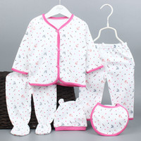 Wholesale Infant Outerwear For Boy - 2017 Cotton Newborn Baby Set Outerwear Clothes New Baby Boys and Girls Clothing Set For Infant Bodysuits 5 Pcs Set