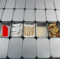 Wholesale Container Business - Tin Container Storage Box Metal rectangle for beads business card candy herbs Case 9.4cm x 5.9cm x 2.1cm Sliver LLFA